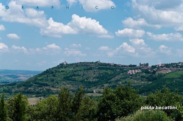 Montalcino visto dalla terrazza dell'Azienda Vinicola Corte Pavone