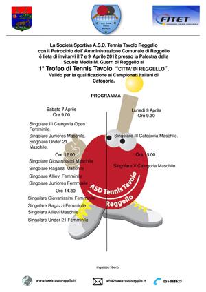 Manifesto 1° Trofeo Tennis Tavolo - Città di Reggello
