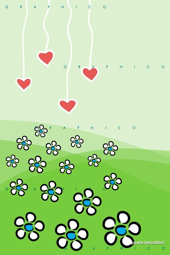 Campo di fiori e cuori pendenti